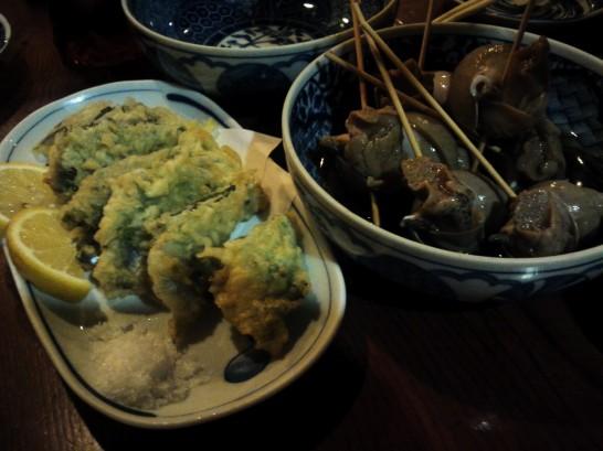 いわしの天ぷらとバイ貝の煮付け